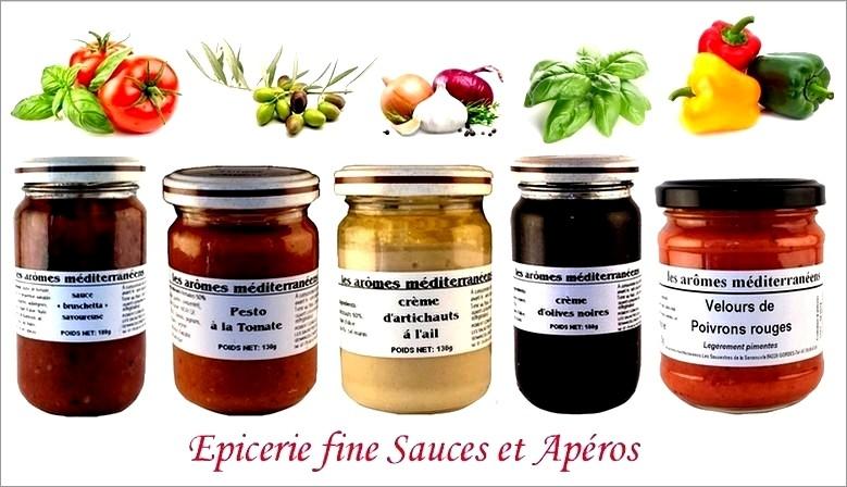 Les arômes méditerranéens Produit gastronomique du sud et saveur du soleil apéros et sauce